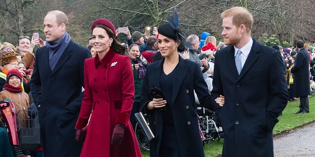 Prince William, Duke of Cambridge, Catherine, Duchess of Cambridge, Meghan, Duchess of Sussex and Prince Harry, Duke of Sussex attend Christmas Day Church service at Church of St Mary Magdalene on the Sandringham estate on December 25, 2018 in King's Lynn, England.