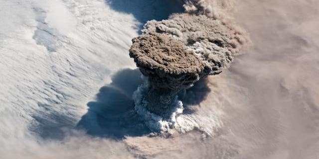 Rare eruption of Raikoke Volcano snapped from ISS