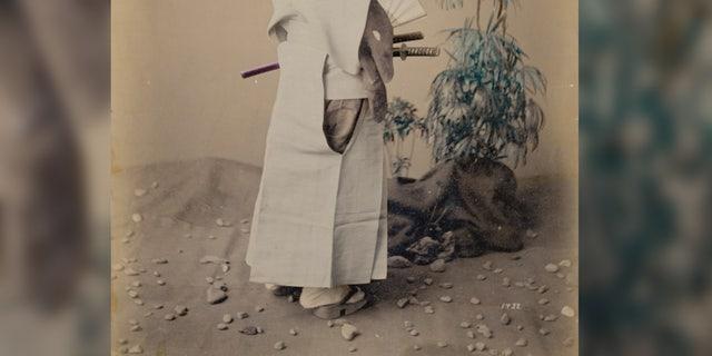 A Japanese samurai warrior, around 1880.