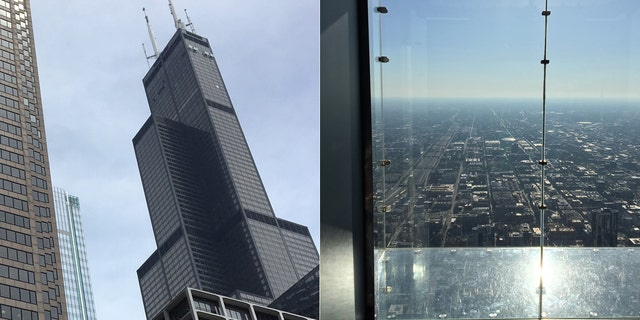Skydeck Chicago atop the Willis Tower features four glass enclosures collectively called The Ledge, which opened in 2009 and give tourists the feeling of standing suspended in midair 1,353 feet above the ground and 4 feet away from the building.