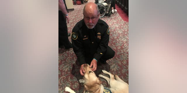 'Murph' is a facility service dogs and his handler, Janet Balser, works for the Staunton, Virginia Victim/Witness Program. On a normal day, Murph and Janet aid crime victims, families and witnesses throughout the legal process. Murph's calm and loving sweetness empowers witnesses to testify.