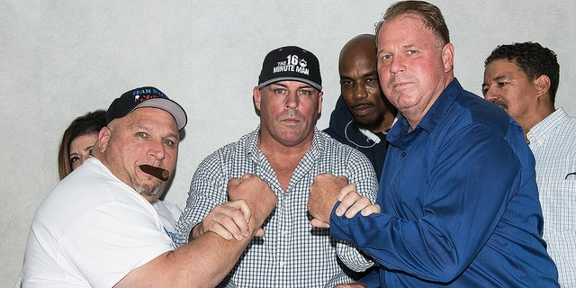 "TV personality Henry ""Nacho"" Laun, celebrity boxing promoter Damon Feldman and Thomas Markle, Jr. attend the Rocco's Collision Presents Celebrity Boxing 68: Thomas Markle, Jr. v. Nacho Press Conference on May 15, 2019 in Philadelphia."