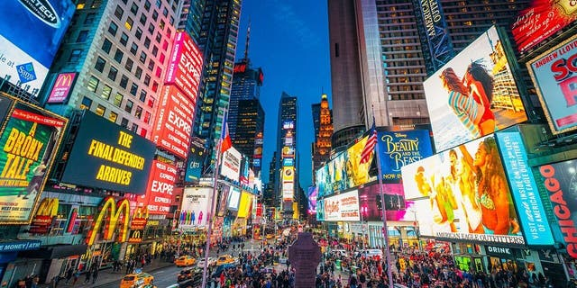 The lights of Times Square in New York City.
