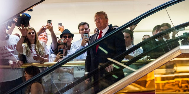Donald Trump arrives at the press event where he announced his candidacy for the U.S. presidency at Trump Tower on June 16, 2015 in New York City. (Photo by Christopher Gregory/Getty Images)