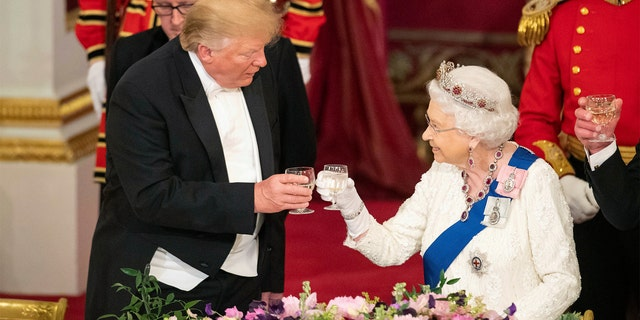 President Donald Trump and Queen Elizabeth II toasted during the State Banquet at Buckingham Palace in June 2019.