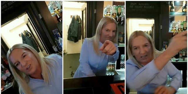 The video shows Jonathan White, 25, seeking a womanlike staffer for a potion of daub H2O in a Clock Hotel, Hebburn, North Tyneside, on Jun 15.