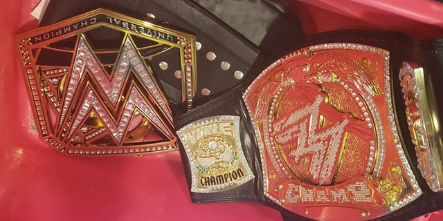 The belts, pictured above, were returned two days after being poached off Moreira's porch.
