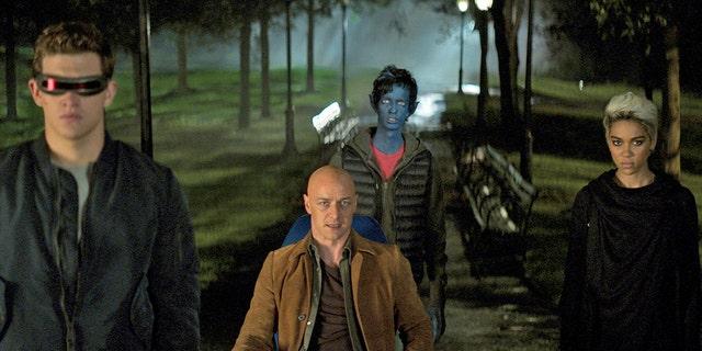 "This image released by Twentieth Century Fox shows Tye Sheridan, from left, James McAvoy, Kodi Smit-McPhee, and Alexandra Shipp in ""Dark Phoenix."""