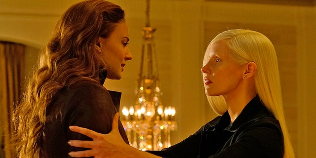 "This image released by Twentieth Century Fox shows Sophie Turner, left, and Jessica Chastain in a scene from ""Dark Phoenix."""