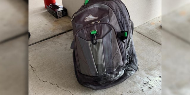 On June 12, a passenger's gray backpack, pictured, went up in flames as it passed through a TSA scan at Yeager Airport.