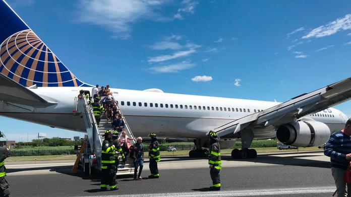 Plane landing at Newark airport blows tires, skids on runway