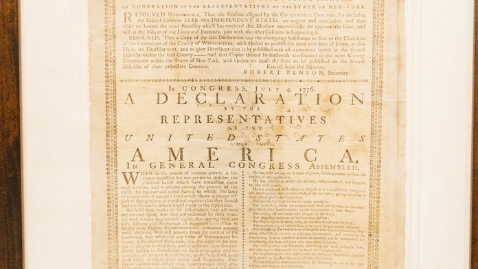 Rare 1776 printing of the Declaration of Independence on display for the first time in over a century