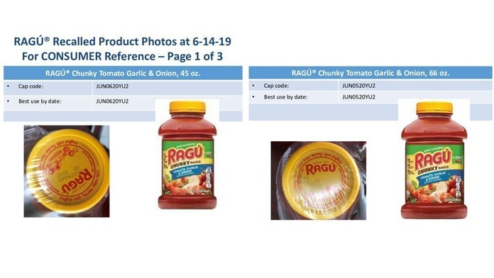 Ragú pasta sauces recalled over possible plastic fragment concerns