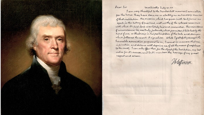Newly-discovered Thomas Jefferson letter describes the Revolutionary War's impact on the 'history of mankind'