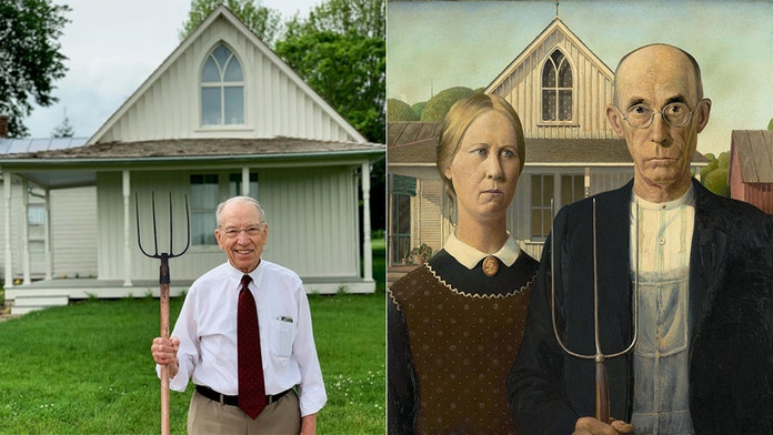 Sen. Chuck Grassley poses to recreate famous painting in 'crusade' against History Channel