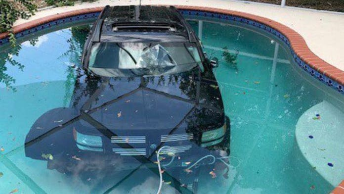 Florida driver accidentally drives into a pool, report says