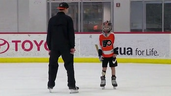 Philadelphia goalie skates with 9-year-old fan recovering from partial foot amputation
