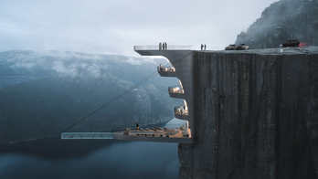 Architecture firm shares concept for boutique hotel partially hanging from 1,982-foot cliff in Norway