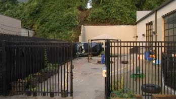 Driver survives crashing his Tesla off hill into daycare playground