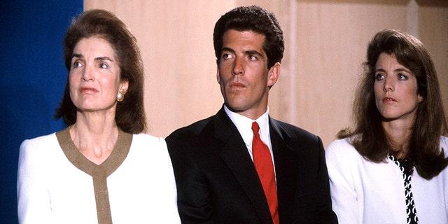 (L-R) Jackie Kennedy Onassis w. son John F. Kennedy Jr. and daughter Caroline Kennedy.