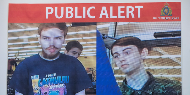 Security camera images of Kam McLeod, 19, and Bryer Schmegelsky, 18, are displayed during a news conference in Surrey, British Columbia, Tuesday, July 23, 2019. The two young men, thought to be missing, are now suspects in the murders of an American woman and her Australian boyfriend as well as the death of another man in northern British Columbia, Canadian police said Tuesday. (Darryl Dyck/The Canadian Press via AP)