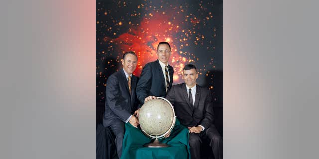The Apollo 13 crew party - from left to right is Mission Commander Jim Lovell, Command Module pilot Jack Swigert and Lunar Module Pilot Fred Haise (NASA)