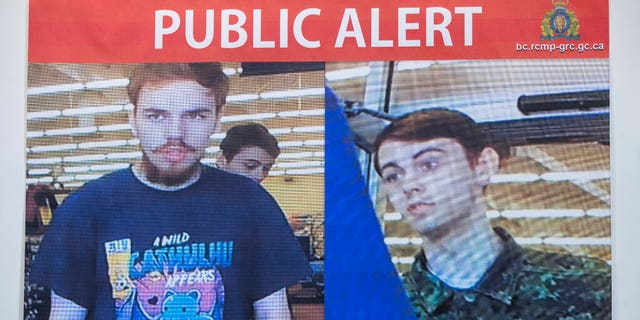 Security camera images of Kam McLeod, 19, and Bryer Schmegelsky, 18, are displayed during a news conference in Surrey, British Columbia, Tuesday, July 23, 2019.