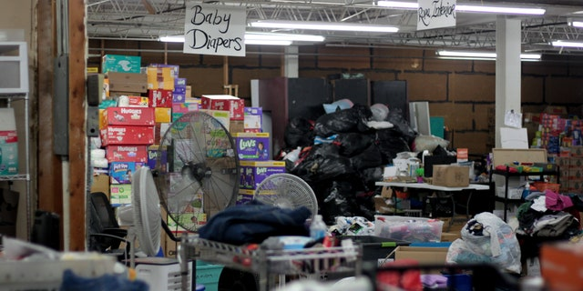 Warehouse of supplies in respite center in McAllen, Texas.