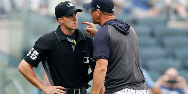 New York Yankees' manager Aaron Boone yells at home plate umpire Brennan Miller during the second inning of the first game of a baseball doubleheader against the Tampa Bay Rays' Thursday, July 18, 2019, in New York. (Associated Press)
