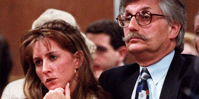 Kim Goldman (L) and Fred Goldman (R) sister and father of murder victim Ronald Goldman listen to Superior Court Judge Alan Haber in a Santa Monica, California, during a court session in the wrongful death lawsuit against O.J. Simpson. (AFP/AFP/Getty Images)