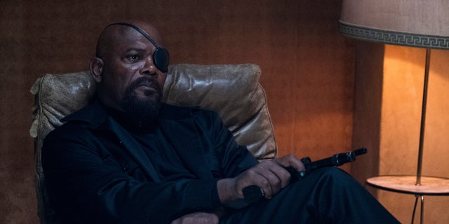 """Samuel L. Jackson as Nick Fury in a scene from """"Spider-Man: Far From Home."""""""
