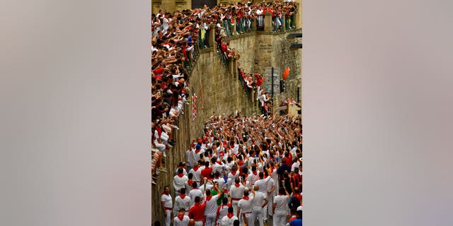 Around 1 million people each year attend the running of the bulls' nine-day festival.