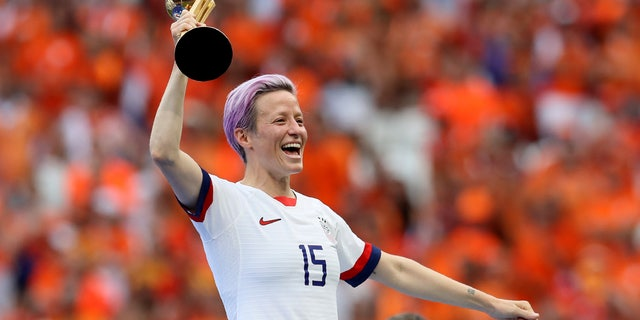 United States' Megan Rapinoe celebrating her team's victory Sunday. (AP Photo/David Vincent)