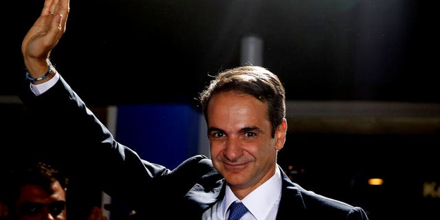Greek antithesis New Democracy regressive celebration personality Kyriakos Mitsotakis waves to his supporters after win in parliamentary elections during a New Democracy domicile in Athens, on Sunday, Jul 7, 2019.