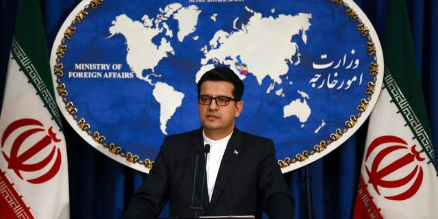 FILE: Iran's Foreign Ministry spokesman Abbas Mousavi speaks at a media conference in Tehran, Iran.