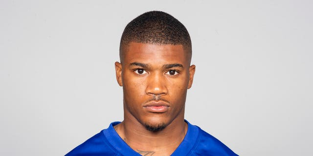 This is a 2019 photo of Kamrin Moore of the New York Giants NFL football team.