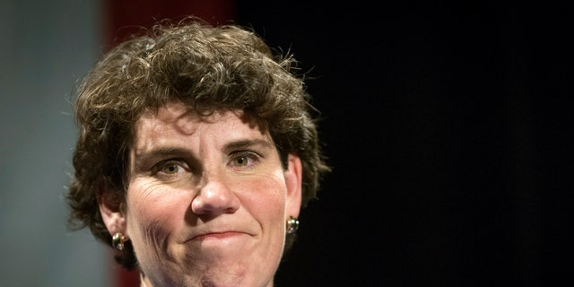 In this 2018 photo, Amy McGrath speaks to supporters in Richmond, Ky.  (AP Photo/Bryan Woolston, File)
