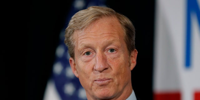 Billionaire investor and Democratic activist Tom Steyer speaks during a news conference in Des Moines, Iowa, Jan. 9, 2019. (Associated Press)