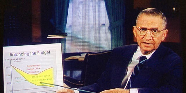 FILE: Ross Perot is shown on a shade in a paid 30-minute radio commercial, during a media preview in Dallas.
