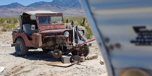 The Jeep where Troy Ray was found dead. Officials think it collapsed on him due to earthquakes last week. (Rachel Aston/Las Vegas Review-Journal via AP)