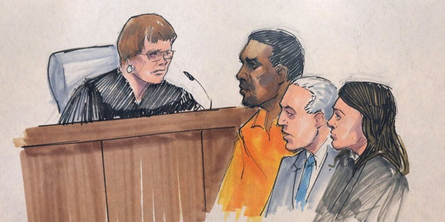 In this courtroom sketch, R&B singer R. Kelly, center, appears before U.S. Magistrate Shelia M. Finnegan, left, in U.S. District Court for the Northern District of Illinois. Friday, July 12, 2019, in Chicago. Also standing with Kelly is his attorney Steve Greenberg and an unidentified prosecutor.