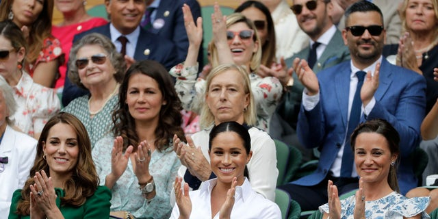 Westlake Legal Group AP19194482730044 Meghan Markle and Kate Middleton attend Wimbledon final for second year in a row Jessica Napoli fox-news/world/personalities/kate fox-news/world/personalities/british-royals fox-news/topic/royals fox-news/sports/tennis/wimbledon fox-news/entertainment/celebrity-news/meghan-markle fox news fnc/entertainment fnc cd2e1d99-17b9-599e-bf58-0c49f8ae035e article