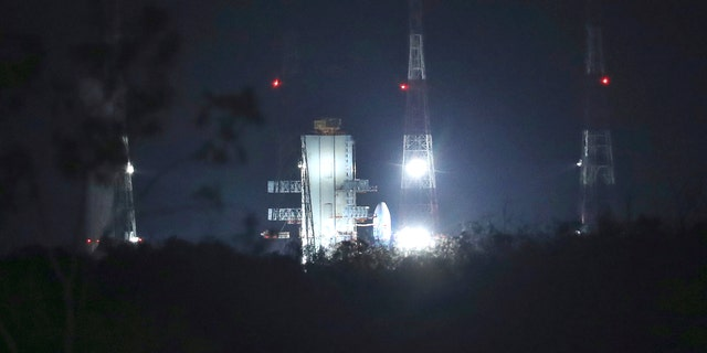 Indian Space Research Organization (ISRO)'s launch vehicle carrying Chandrayaan-2 standing at Satish Dhawan Space Center after the mission was aborted. (AP Photo/Manish Swarup)