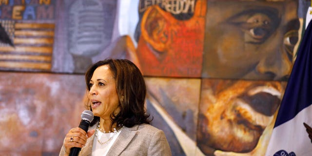 FILE: Democratic presidential candidate Sen. Kamala Harris, D-Calif., speaks during a Women of Color roundtable discussion.