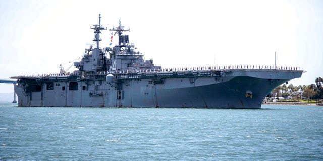 FILE: The amphibious assault ship USS Boxer (LHD 4) transits the San Diego Bay in San Diego, Calif.聽