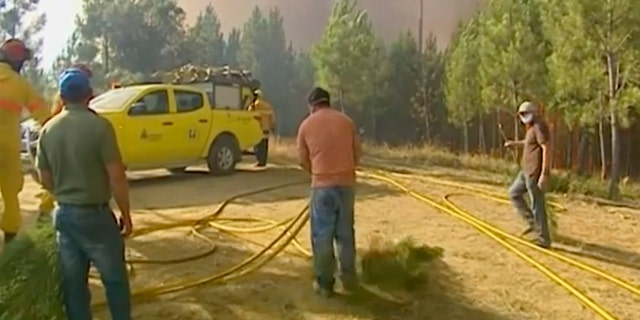 1,800 firefighters battle wildfires in central Portugal