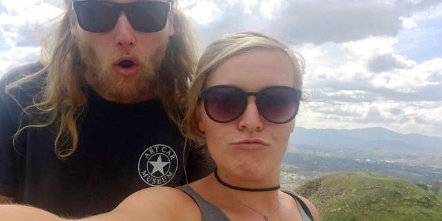 23-year-old Australian Lucas Fowler, left, and 24-year-old American girlfriend Chynna Deese posing for a selfie in an undated photo. The two were found murdered along the Alaska Highway near Liard Hot Springs, Canada, on July 15.