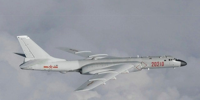 This image released by Joint Staff, Ministry of Defense, shows a Chinese H-6 bomber which they said were flying near the Sea of Japan Tuesday, July 23, 2019. (Joint Staff, Ministry of Defense via AP)