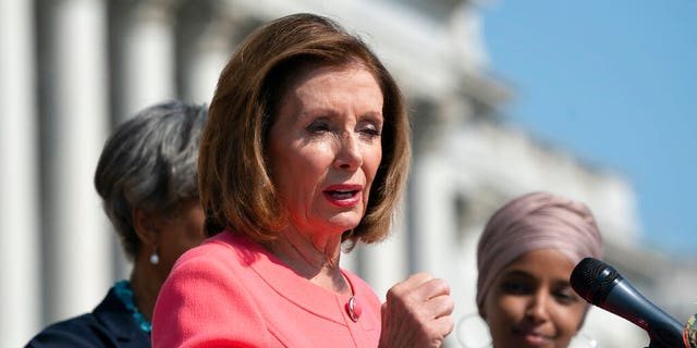 Speaker of the House Nancy Pelosi, D-Calif., and the Democratic Caucus hold an event on the House steps to highlight their agenda since taking the majority in the 2018 election, at the Capitol in Washington, Thursday, July 25, 2019. The House leaves for a five week August recess Friday. (AP Photo/J. Scott Applewhite)
