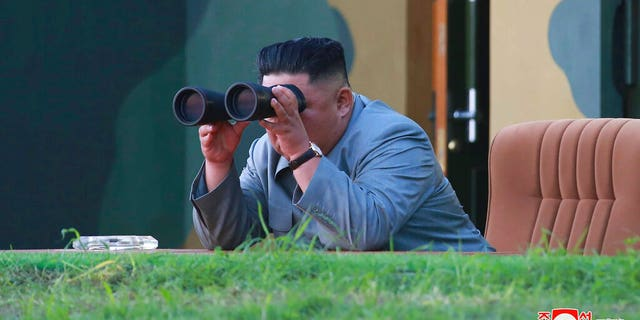 North Korean leader Kim Jong Un watches a missile test in a photo provided on July 26, 2019 by the North Korean government. (Korean Central News Agency/Korea News Service via AP)